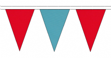 RED AND SKY BLUE TRIANGULAR BUNTING - 10m / 20m / 50m LENGTHS